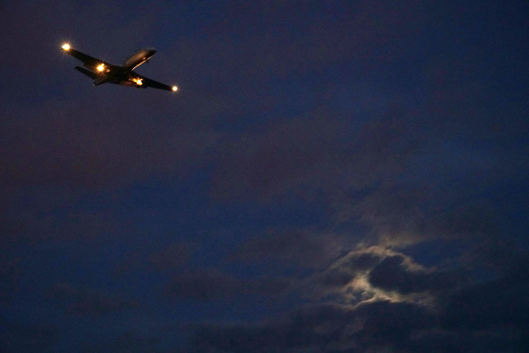 Fly Airplane Airport Fullmoon Clouds And Sky