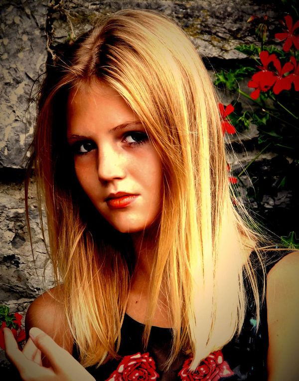 Amber Portrait 1 Amber Beauty Blond Hair Flower Looking At Camera Outdoors Portrait Young Women