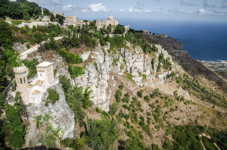 Beach Heritage Building Holiday Landscape Mountains Sea Sicily, Italy Trapani Italia