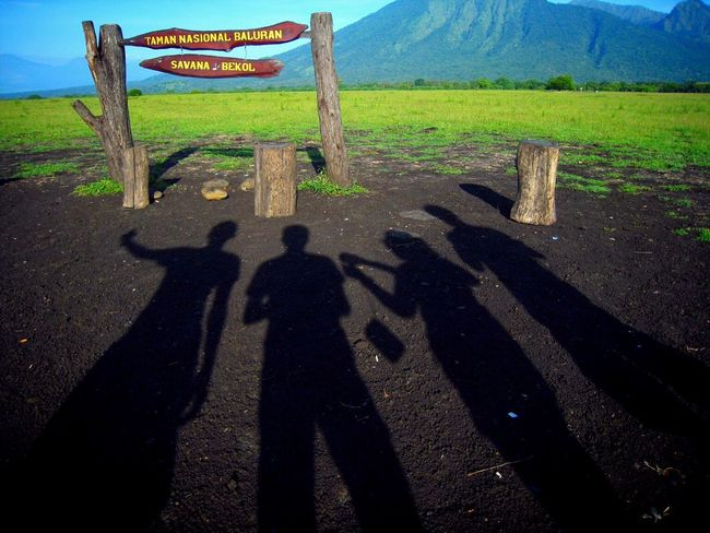 Hi there shadow Shadow Sunlight Text Field Guidance Communication High Angle View Non-urban Scene Outdoors Focus On Shadow Day Signboard Tranquility Indonesia_photography Visitindonesia Banyuwangi Balurannationalpark