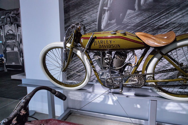 Los Angeles, CA, USA - March 4, 2017: Olive 1920 Harley-Davidson Board Track Racer Motorcycle at the Petersen Automotive Museum in Los Angeles, California, United States. Editorial only. 1920 Bicycle Board Track Board Track Racer Day Harley Harley Davidson Harley-Davidson Harleydavidson Land Vehicle Mode Of Transport Motorcycle Motorcycles No People Outdoors Petersen Automotive Museum Racer Stationary Transportation