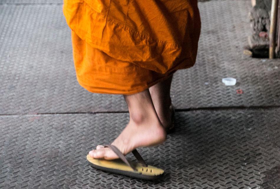 EyeEm Flip Flops Flipflops Low Section Monk  Mönch One Person Outdoors People Reiselust Street Photography Streetart Streetphotography Thailand Travel Travellover Walk Away Walking EyeEm Diversity