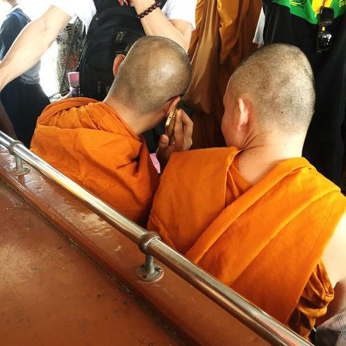Bhuddhist Monk used a mobile phone during transportation Religion Men Bhuddist Buddhist Monks Phone Mobile Phone Urban Transportation Transportation People In Transit Transit Culture And Tradition Modern Lifestyle Lifestyle Religious  Bangkok Thailand