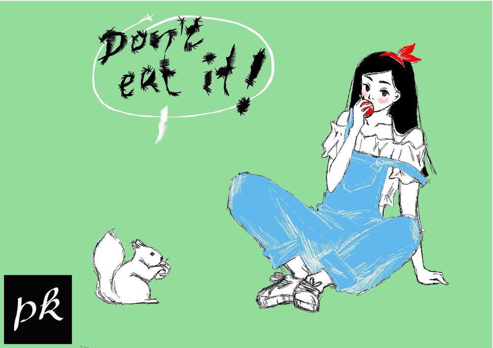 Snowhite today. Creativity Art MyArt Snowhite Schneewittchen Märchen Fairytale  Girl Squirrel Fun Manga Anime Comic