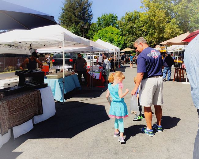 Fatherhood Moments Father & Son Father And Daughter Men Father Kids Boy Girl Colors Blonde Hair Gray Hair Road Tents Booth People Trees San Francisco Bay Area California Table Chair Market Farm Markets Hiking Shoes Rug People And Places
