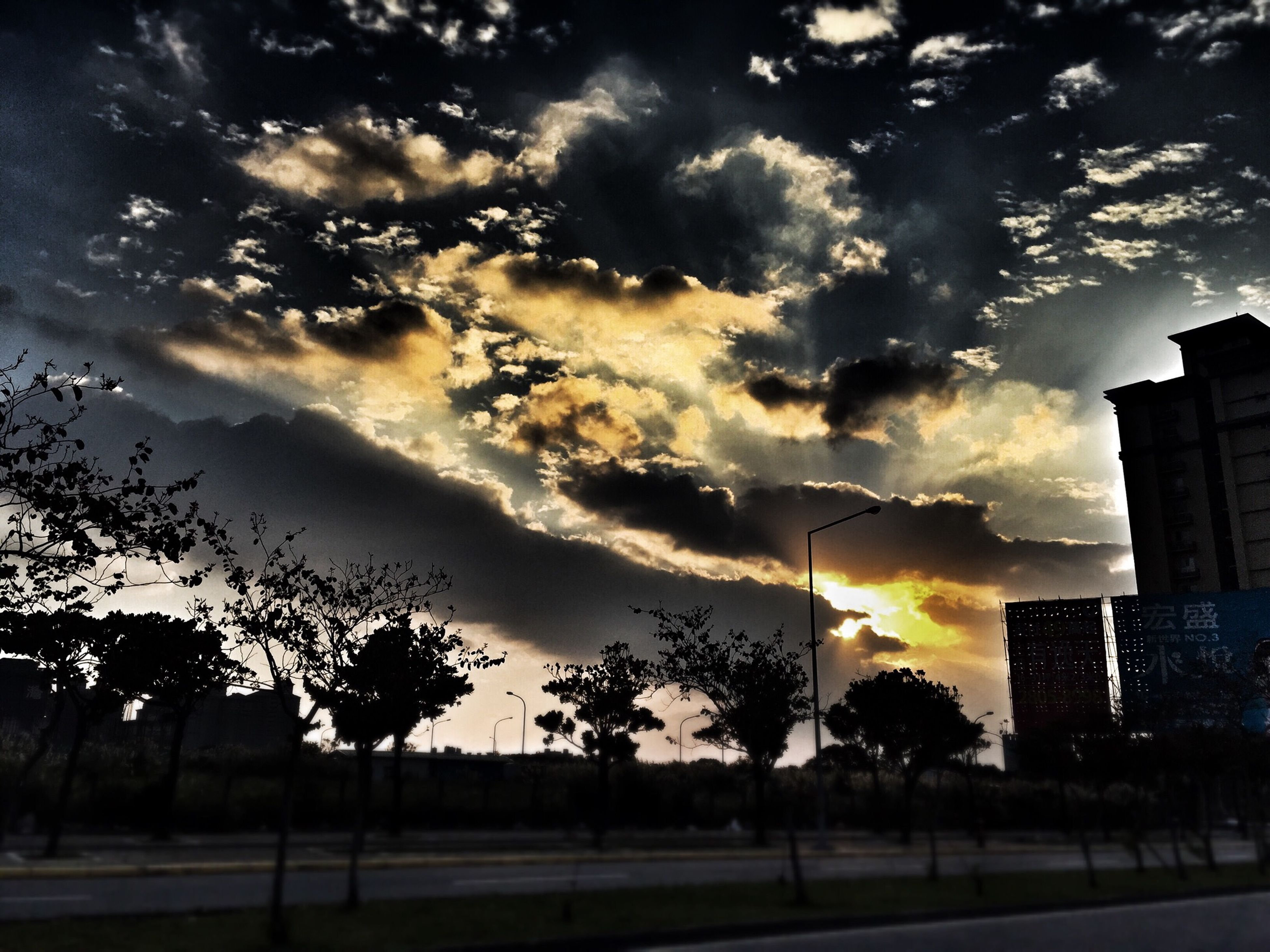 sky, building exterior, tree, sunset, cloud - sky, architecture, built structure, silhouette, cloudy, cloud, nature, city, beauty in nature, sunlight, outdoors, tranquility, no people, growth, scenics, low angle view