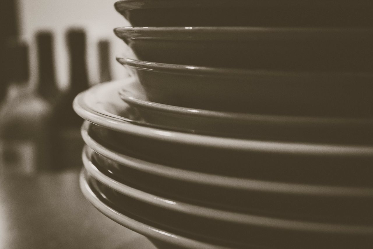Stack of plates Stack Indoors  No People Close-up Can Day Plates Kitchen