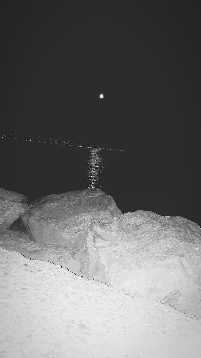 First Eyeem Photo Sea And Sky Sea Moon Reflection Crikvenica Croatia Beach Beach At Night Tranquility Stones