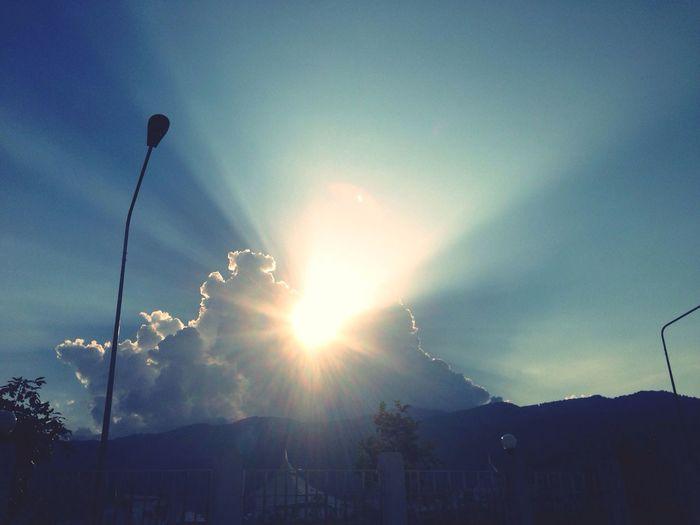 Sunset Sky Clouds Sunbeams