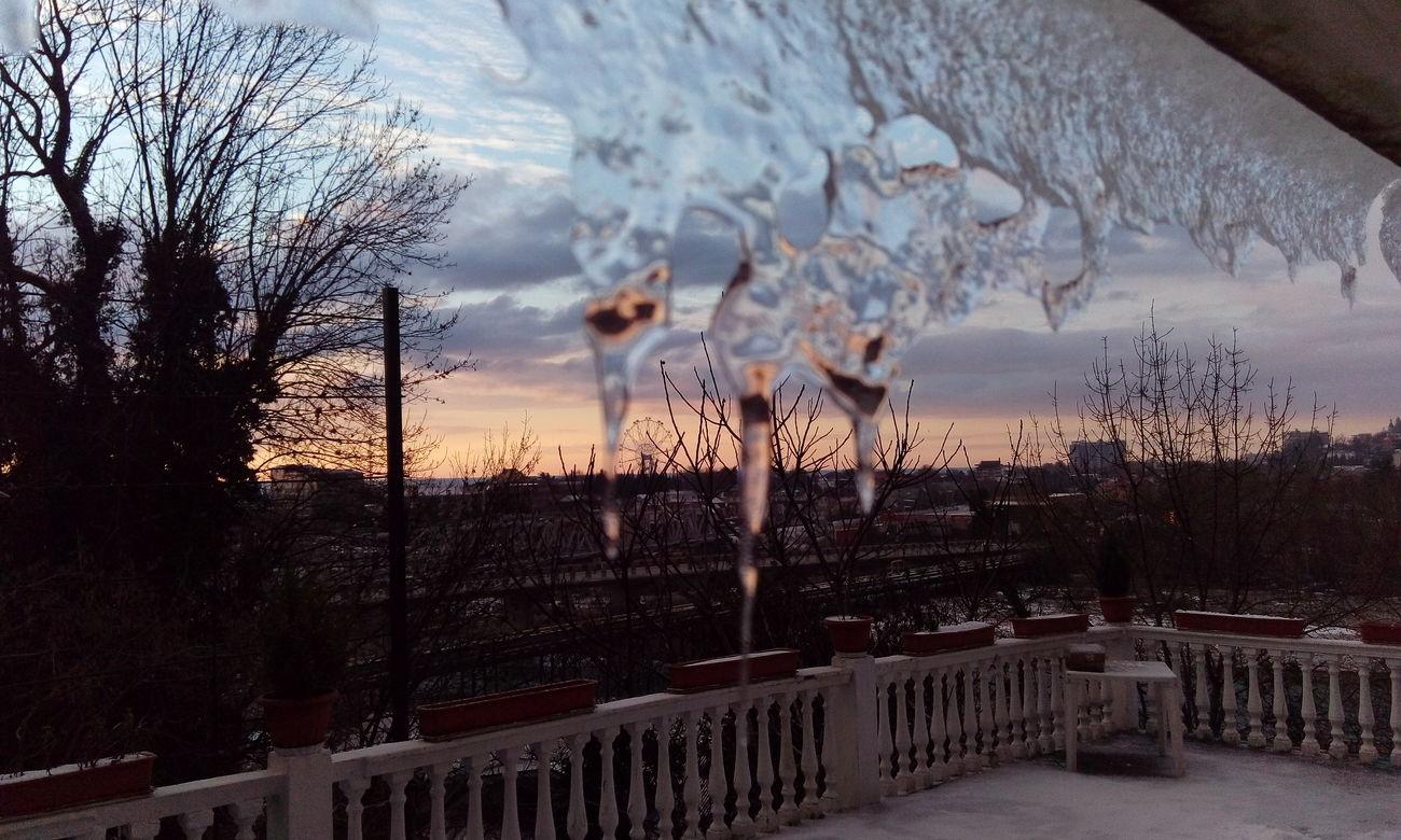 Winter зима сосульки вечером Закат