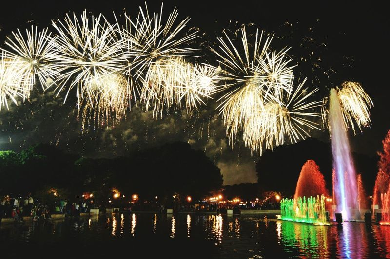 Moscow Russia Ring Of Light Night Fireworks Fontain Holiday Water Trees