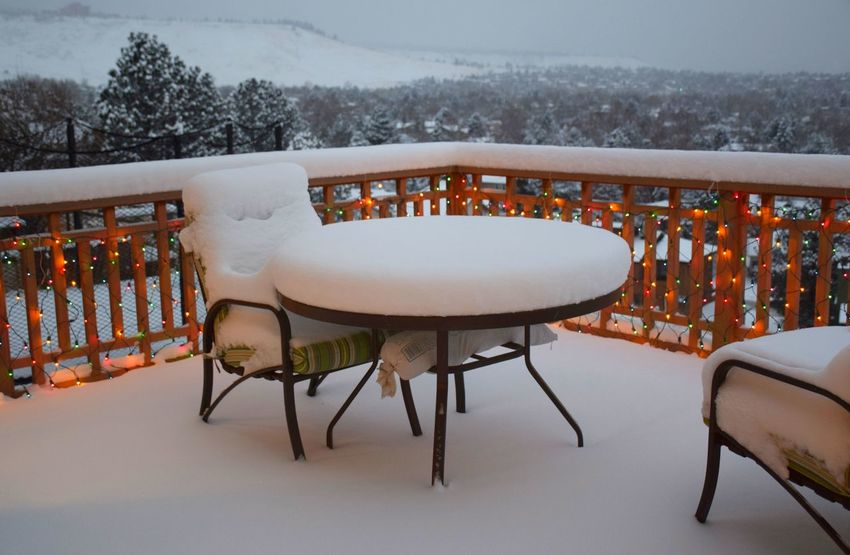 Balcony Scene Boulder Carpet Of Snow Christmas Lights Street Houses Decorations Cold Temperature Colorado Colorado Views Contrast Deep Snow Dusk No People Snow Snow Covered Landscape Table Chair Coverd In Snow Virgin Snow Winter