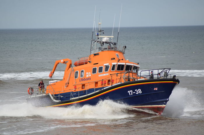 RNLI Open Day, August 2017. Withernsea lifeboat, Humber Lifeboat, RNLI Coastguard Rescue Helicopter Lifeboat RNLI Boat Coastguard Day Horizon Over Water Lifeboat RNLI Motion Nature Nautical Vessel No People Outdoors Rescue Sea Transportation Water Wave Winchman