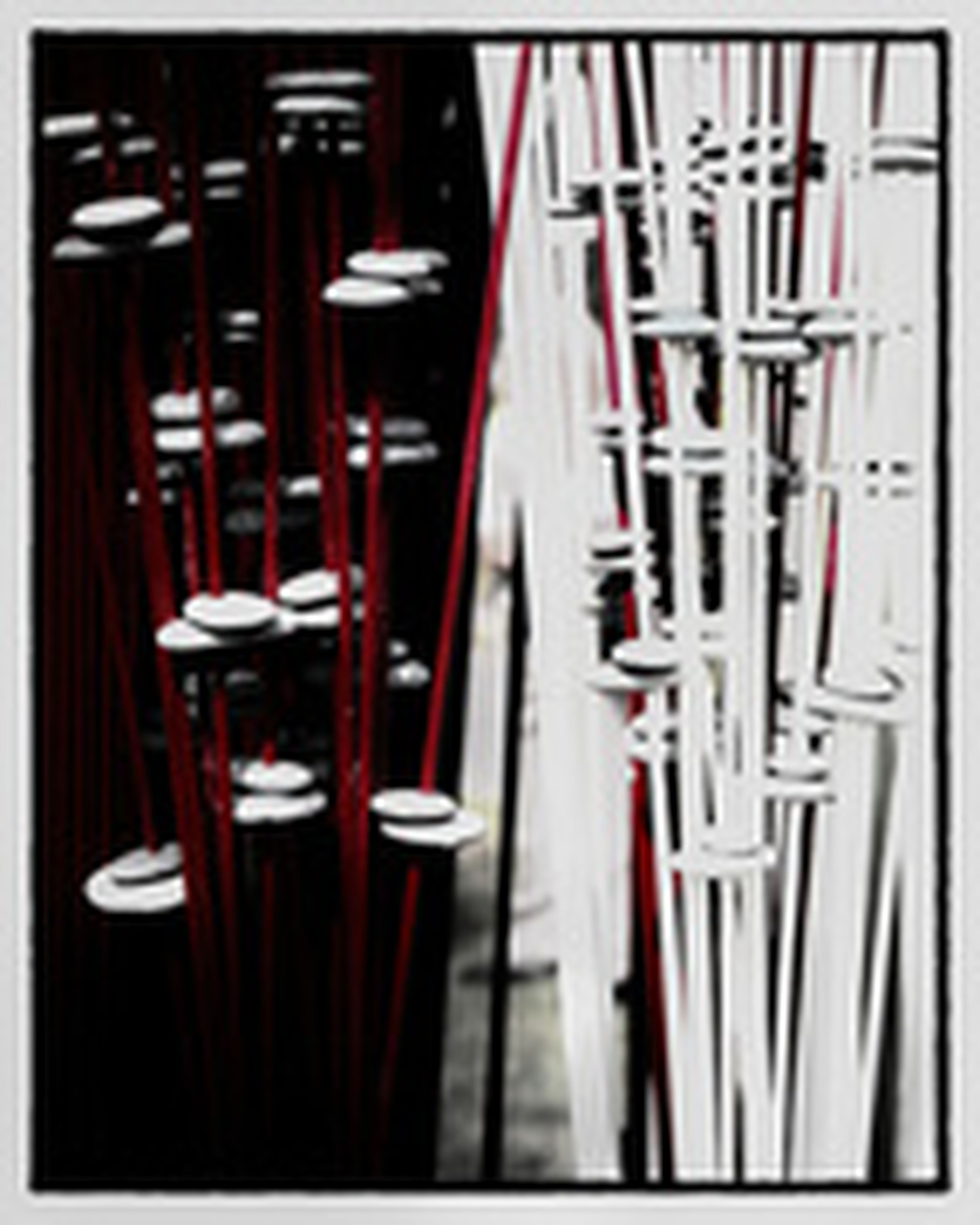 indoors, transfer print, auto post production filter, in a row, large group of objects, still life, order, arrangement, abundance, selective focus, repetition, close-up, group of objects, no people, hanging, table, side by side, shelf, chair, focus on foreground