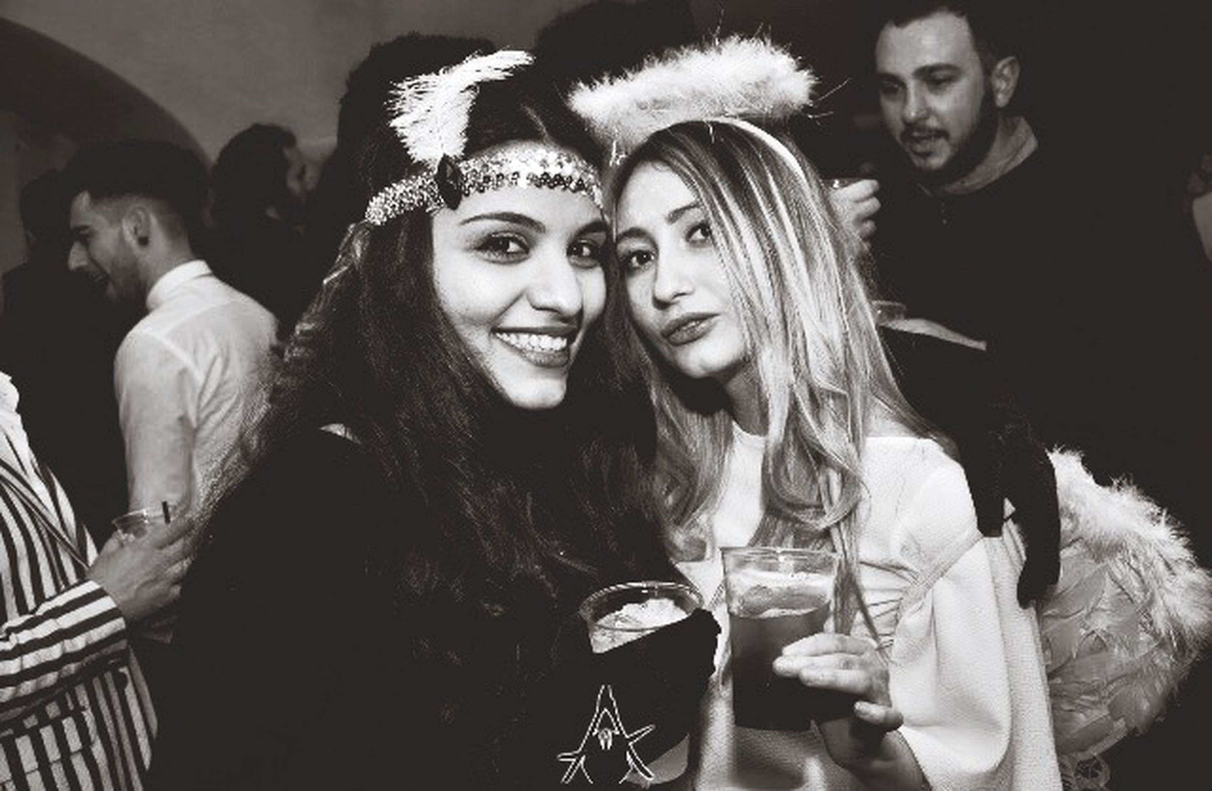 young adult, night, party - social event, young women, women, two people, arts culture and entertainment, fun, nightlife, people, adult, adults only, city, friendship, portrait, togetherness, indoors, happy hour