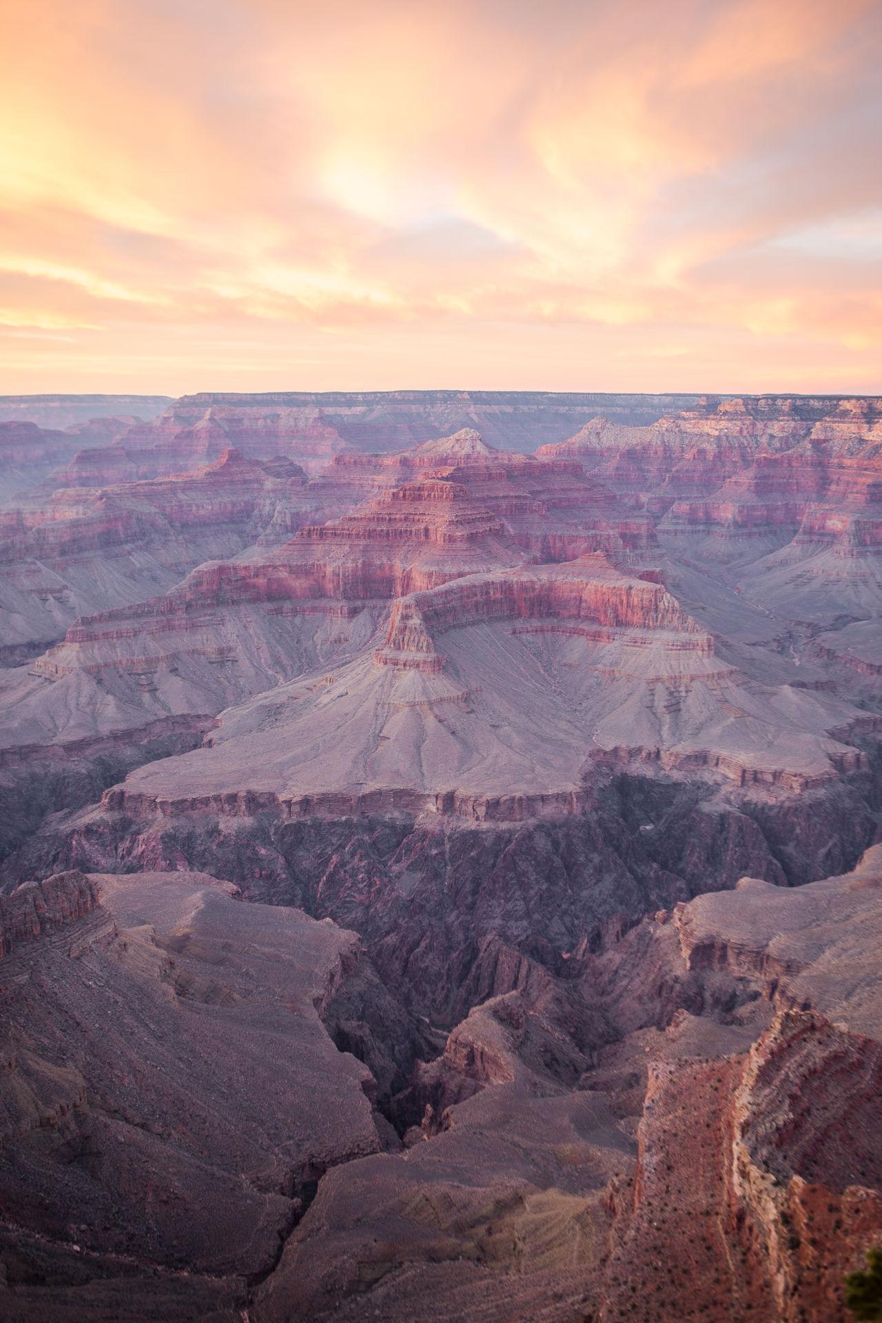 Grand Canyon at sunset Arizona Canyon Evening Evening Light Evening Sky Grand Canyon Grand Canyon National Park Grand Canyon, South Rim Landscape Nature No People Outdoors Scenics Sky Sunset USA