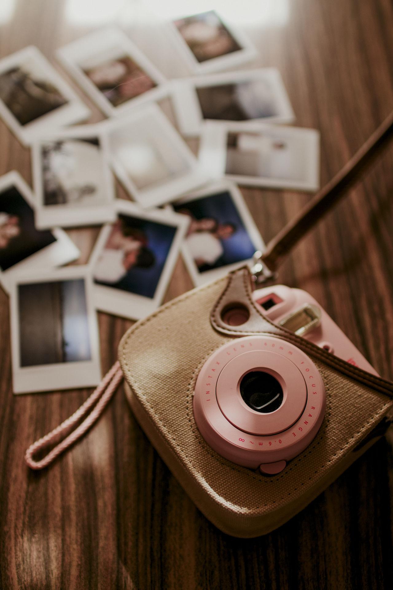 Camera Camera - Photographic Equipment Camera Insta Close-up Day Indoors  Instax Photo Instaxmini Instaxmini8 No People Pink Color Polaroid Vintage Vintage Camera Vintage Cameras Vintage Photo Wood Wood - Material