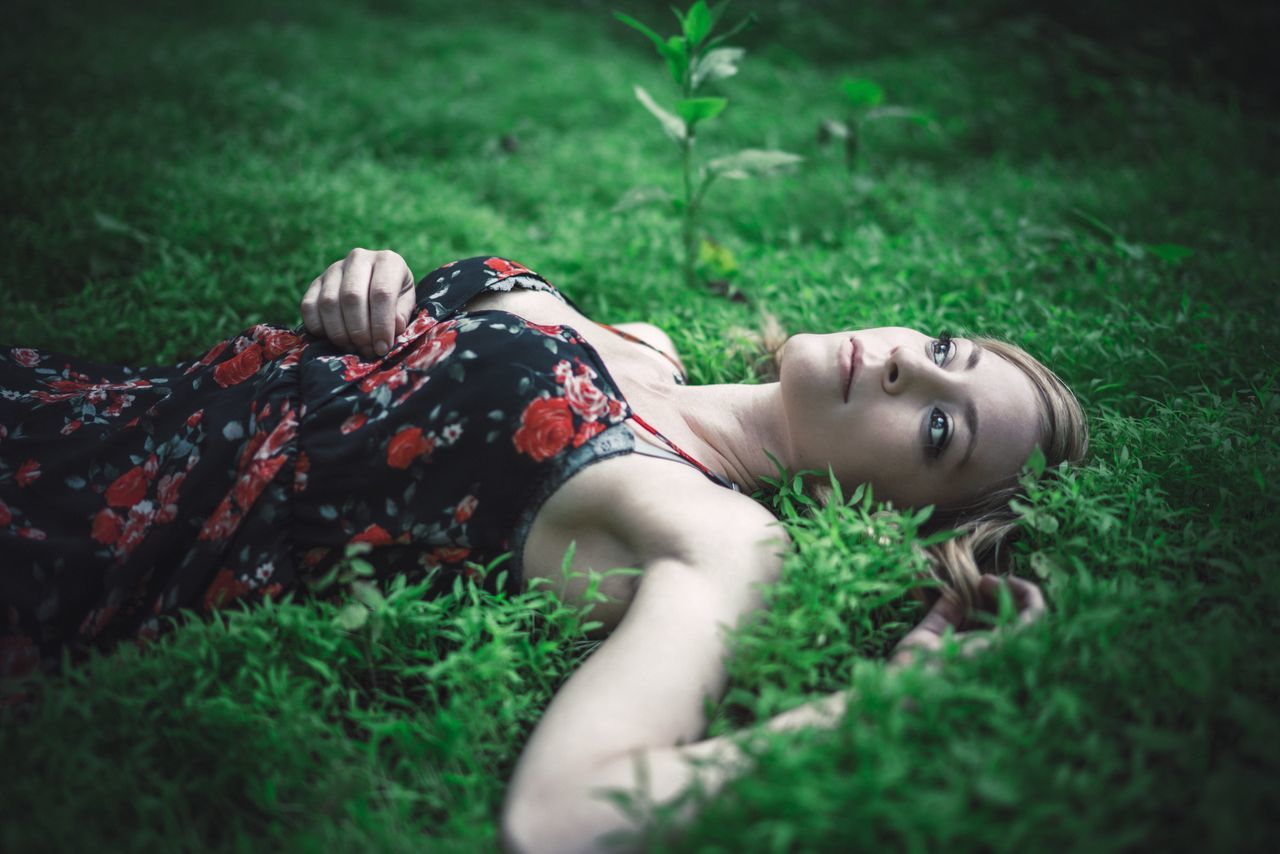 Place Of Heart Grass One Woman Only Relaxation Outdoors Young Adult One Person Young Women Day Adult People