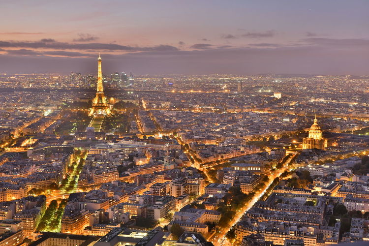 An Eye For Travel France Paris Sightseeing Travel Aerial View Architecture Building Exterior Built Structure Bulb Bulbs City Cityscape Cloud - Sky darkness and light Day Illuminated Langzeitbelichtung Monparnasse No People Outdoors Sky Skyscraper Sunset Travel Destinations