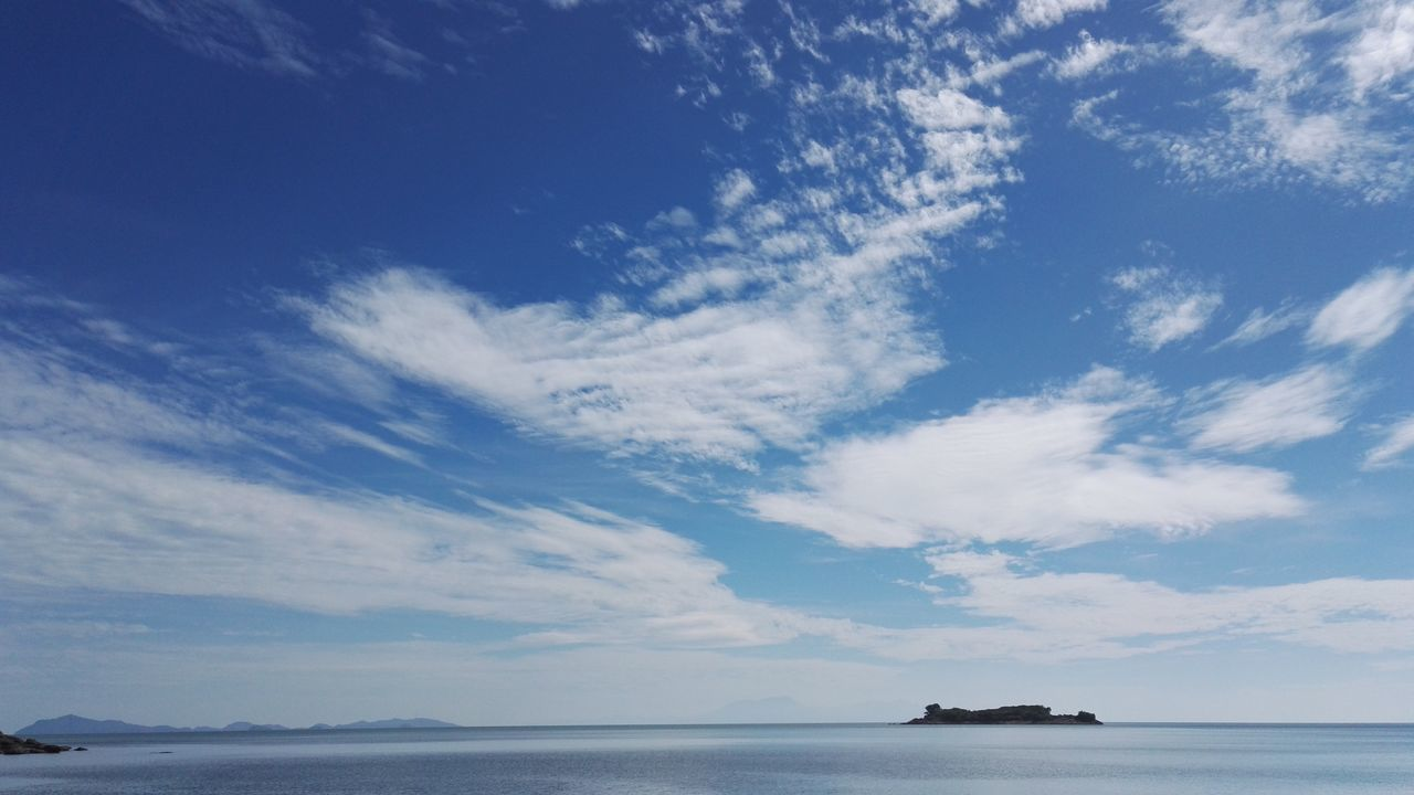 sea, sky, tranquility, scenics, tranquil scene, water, nature, cloud - sky, horizon over water, beauty in nature, blue, waterfront, day, no people, outdoors, nautical vessel
