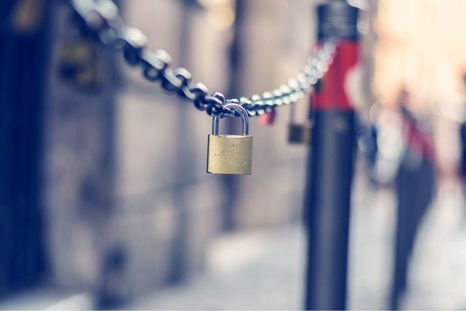 Chains Hanging Padlock Metal Lock Chain Love Focus On Foreground Outdoors Selective Focus Day Love Lock Close-up Hope No People