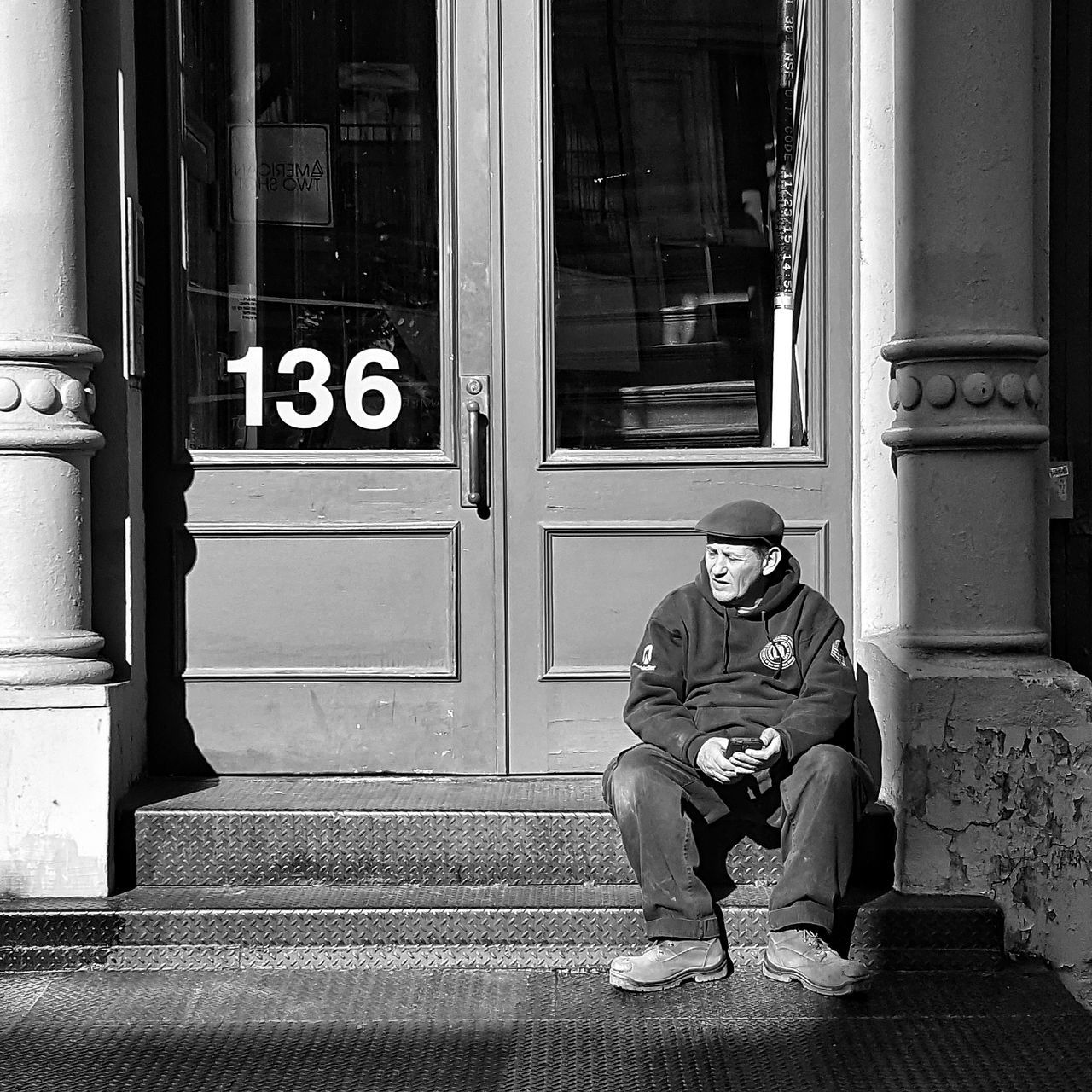Sittin' & thinkin'. One Man Only Adult Outdoors Day Social Issues Bnw City Life Blackandwhite EyeEm Gallery Black & White Eeyem Photography Urban Lifestyle NYC Street Photography Bnw_captures Mobile Photography EyeEmBestPics Bnw_friday_eyeemchallenge NYC Photography Streetphotography Shootermag_usa NYC EyeEyem Real People One Person