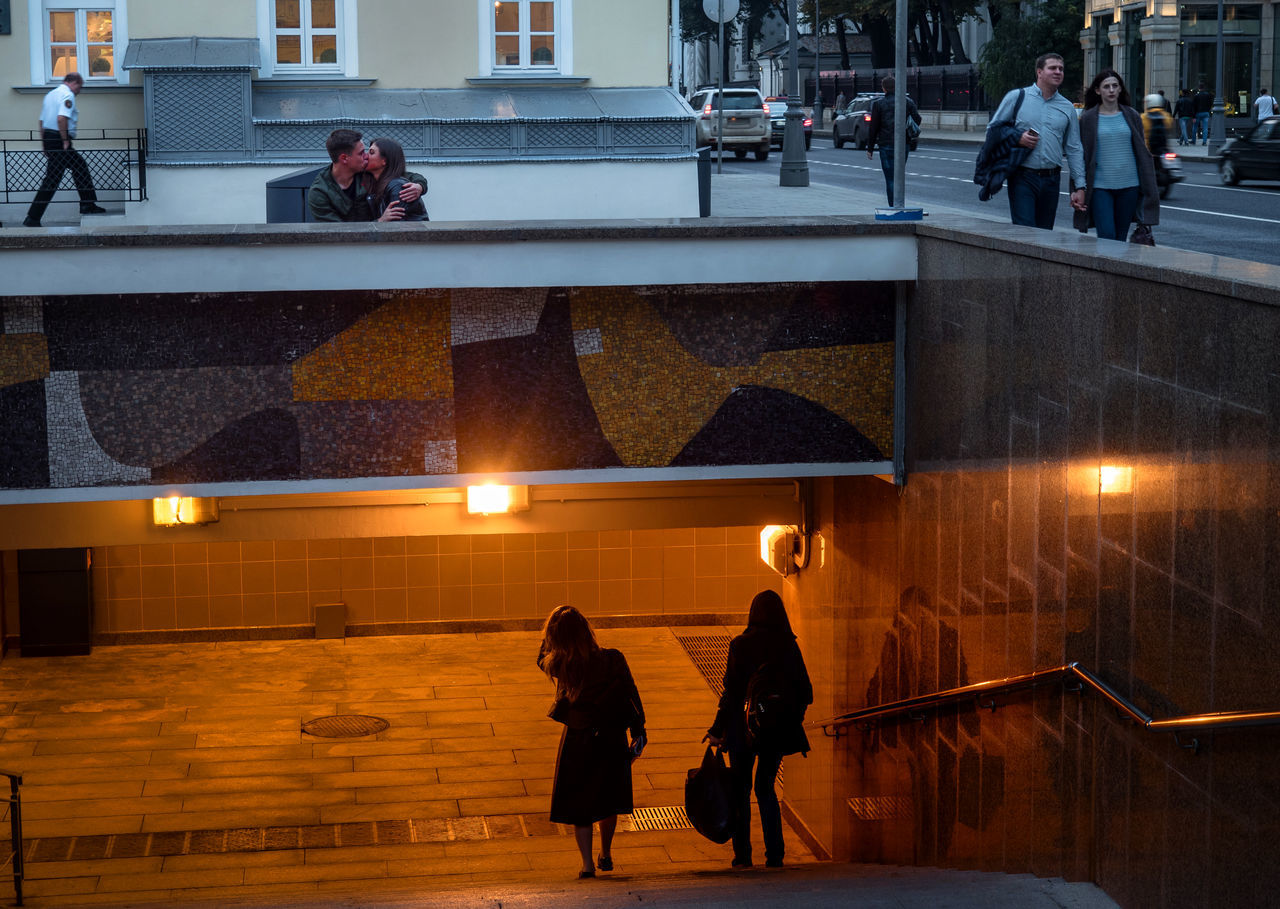 Russia, Moscow, love, kiss, underpass, Vozdvizhenka Adult Architecture City Horizontal Ice Rink Indoors  Men Night People Performance Person Real People Russia, Moscow, Love, Kiss, Underpass, Vozdvizhenka Two People Young Adult