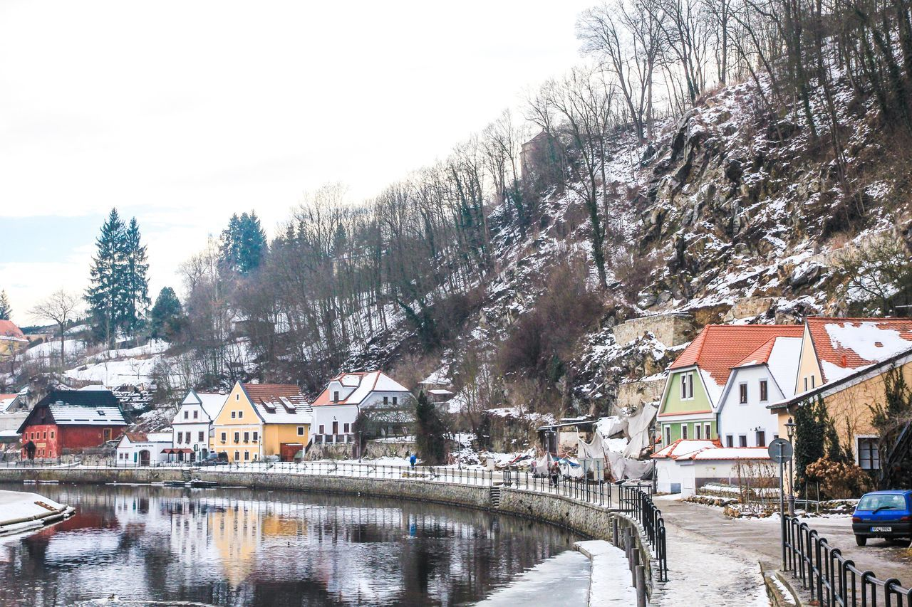 cesky krumlov in austria Architecture Beauty In Nature Building Exterior Built Structure Cold Temperature Day House Nature No People Outdoors River Scenics Sky Snow Tree Water Weather Winter