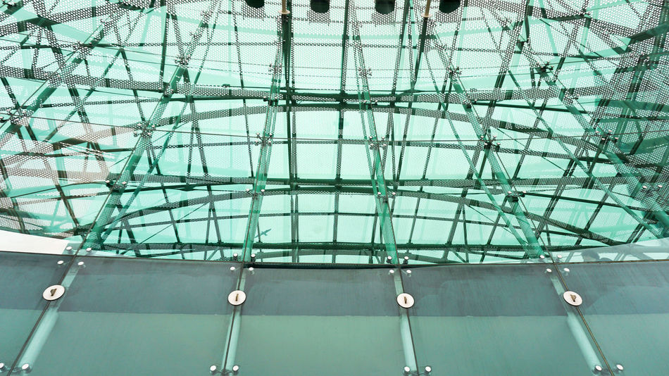 roof construction in Lisbon, Portugal Abstract Architecture Built Structure Construction Glasses Indoors  Low Angle View Modern No People Pattern Roof Steel Cable