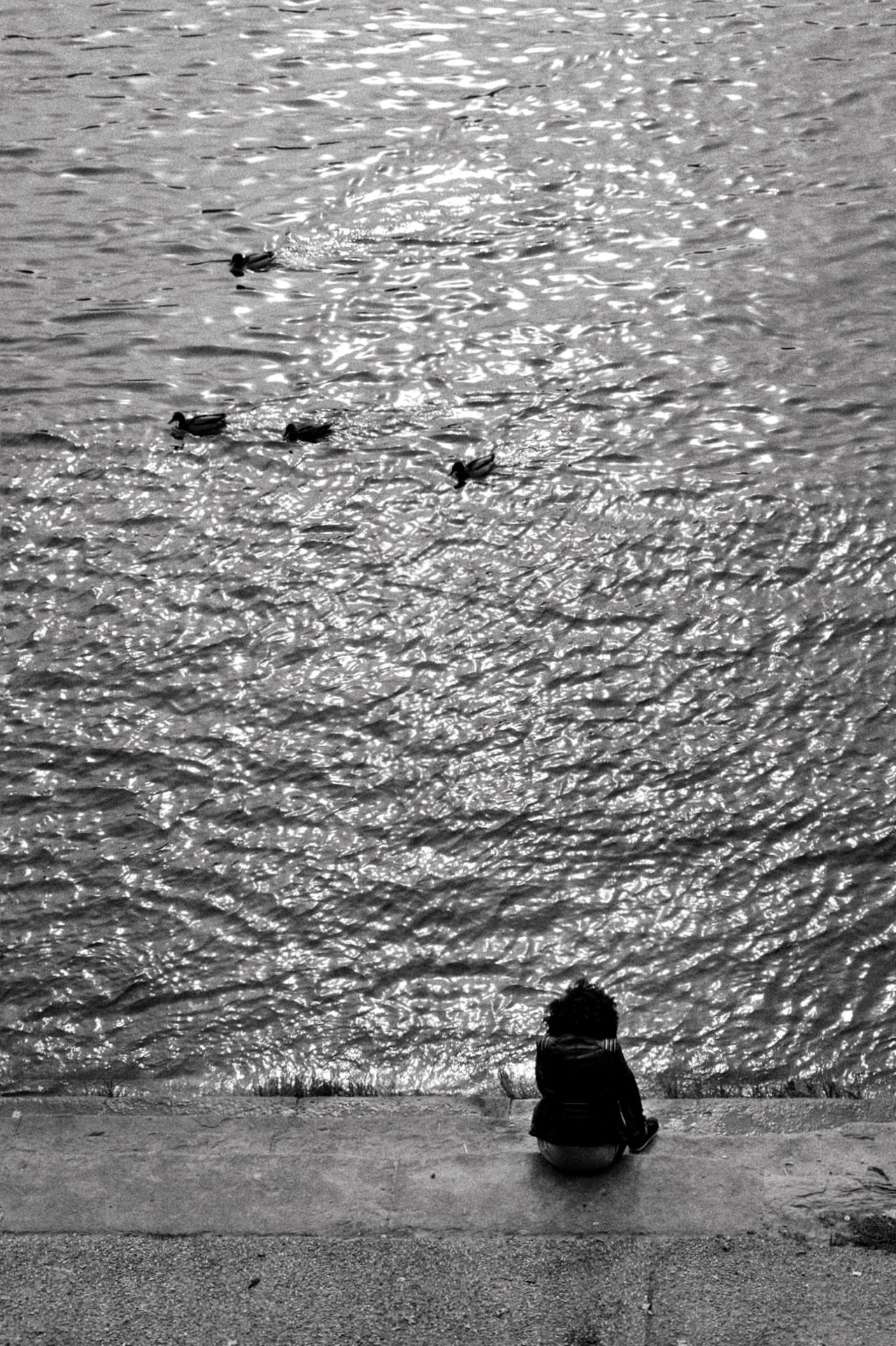 I wonder what she is thinking about... I dedicate this picture to this young lady who was sitting there for hours watching the river go by... Monochrome Toulouse Blackandwhite Peace And Quiet Traveling