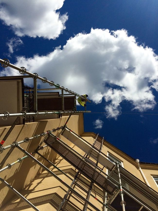 Work First Eyeem Photo Scaffolding Scaffolding To Heaven... Working Hard Blue Sky Karlstad Sky Sunny Day Sky And Clouds Clouds Sweden View