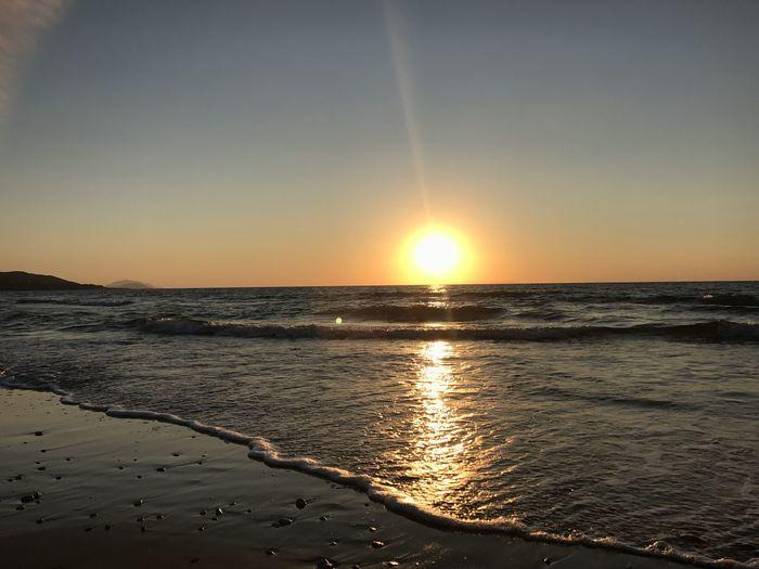 Sandy Beach Rhodes Greece Sunset Beach