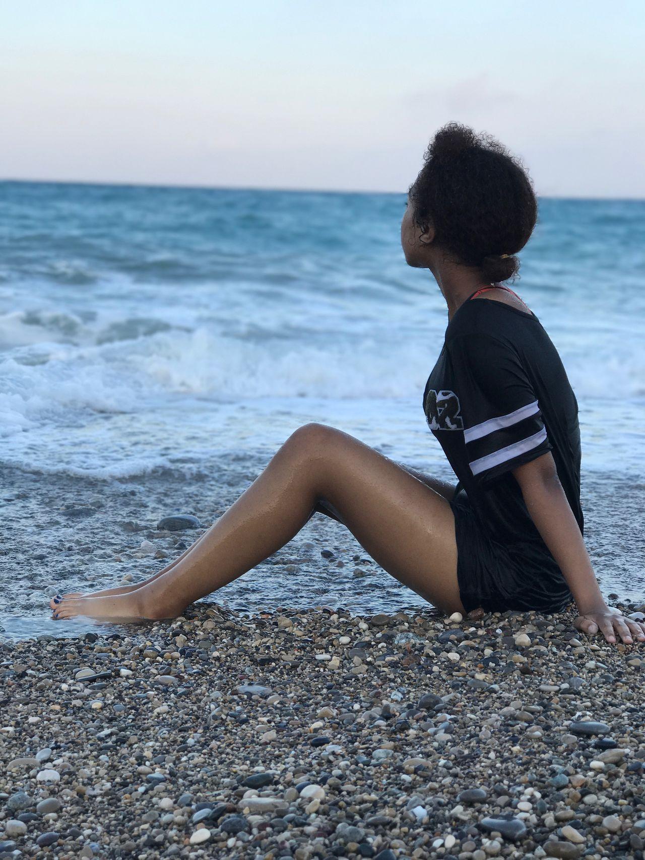 Daddy's girl, natural, beauty, wondering, gazing, natural hair, beach, france