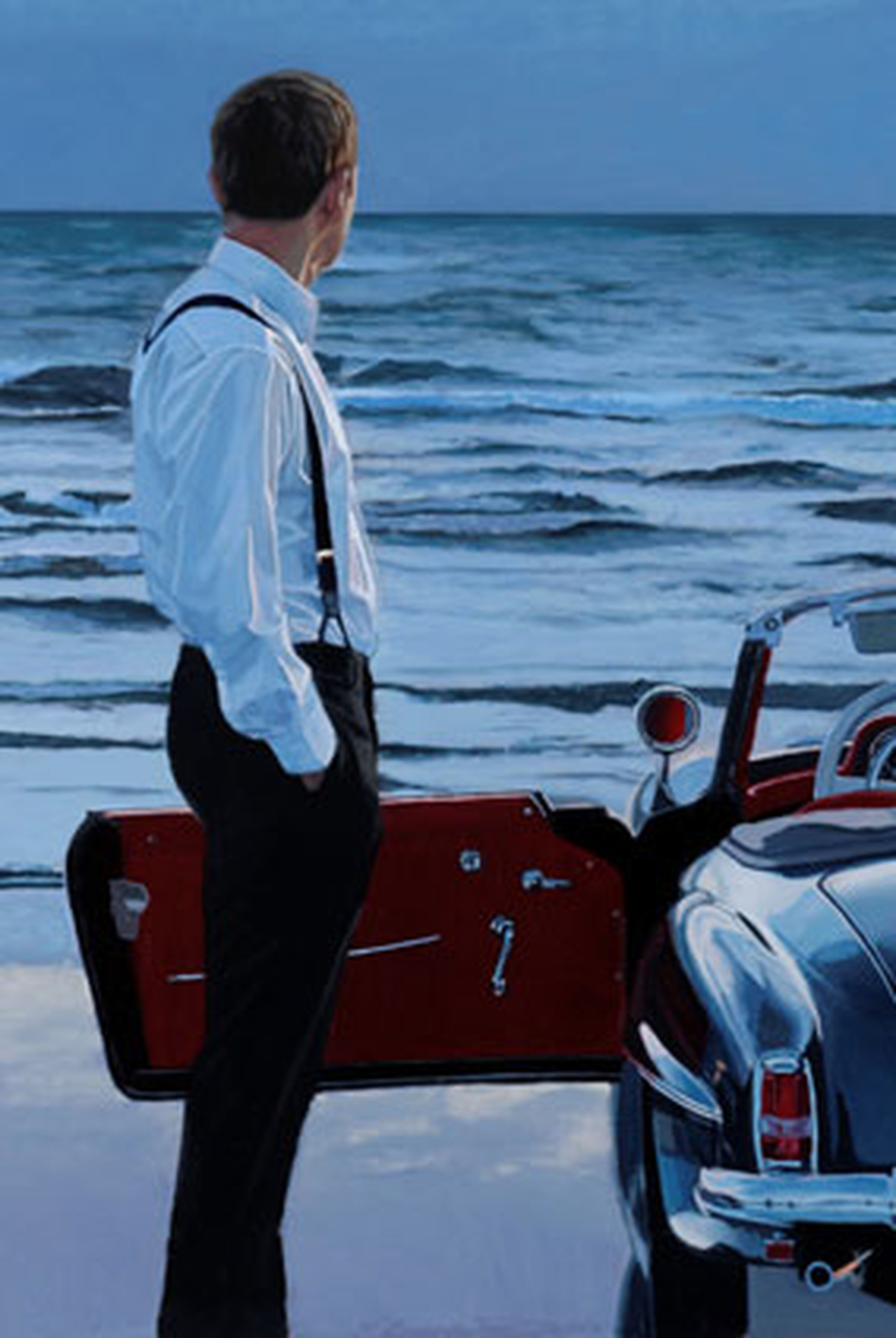 Love this painting by Scotland artist IainFaulkner that I discovered & met in Paris in June 2015; it has a very James Bond 007 Secret Agent aura that is very dramatic as he is Contemplating Life