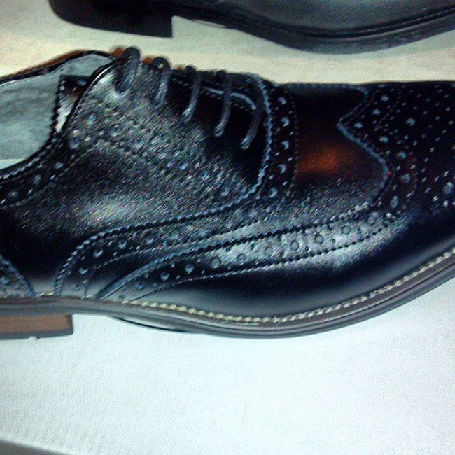 Option 2 All black Wingtips with Woodgrain heel!