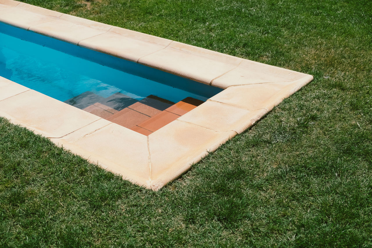 Day Directly Above Field Grass Green Color Growth High Angle View Leisure Activity Light And Shadow Nature No People Outdoors Summer Summertime Swimming Swimming Pool Water