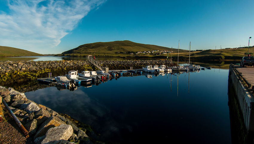 Early morning at Voe Shetland. Boats Early Morning Harbour Harbourside Landscape Nature Reflection Scotland 💕 Shetland Sky Tranquility Voe Voe Shetland Water