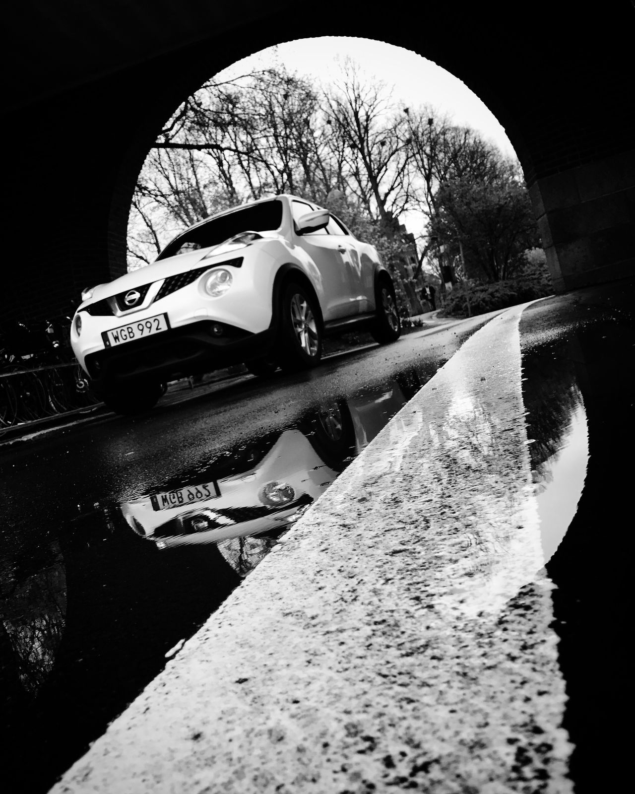 Car Water Puddle Black And White Monochrome Bw_collection Reflection Street Photography Low Angle View