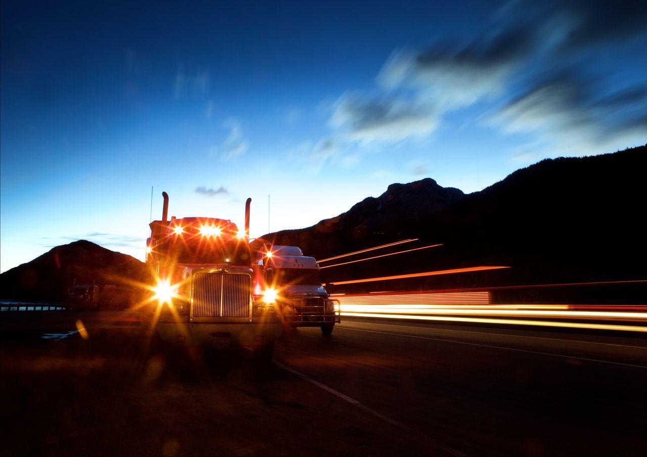 Beautiful stock photos of twilight, Blurred Motion, Cloud - Sky, Freight Transportation, Headlight