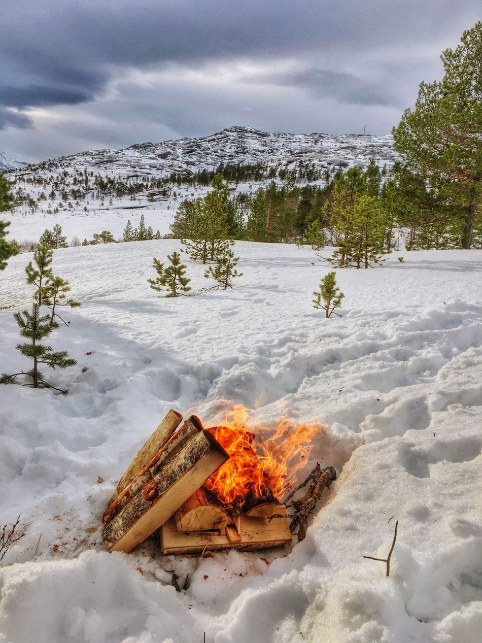 Made ourself a little comfort in the snow.. Fire Snow Nature Norway