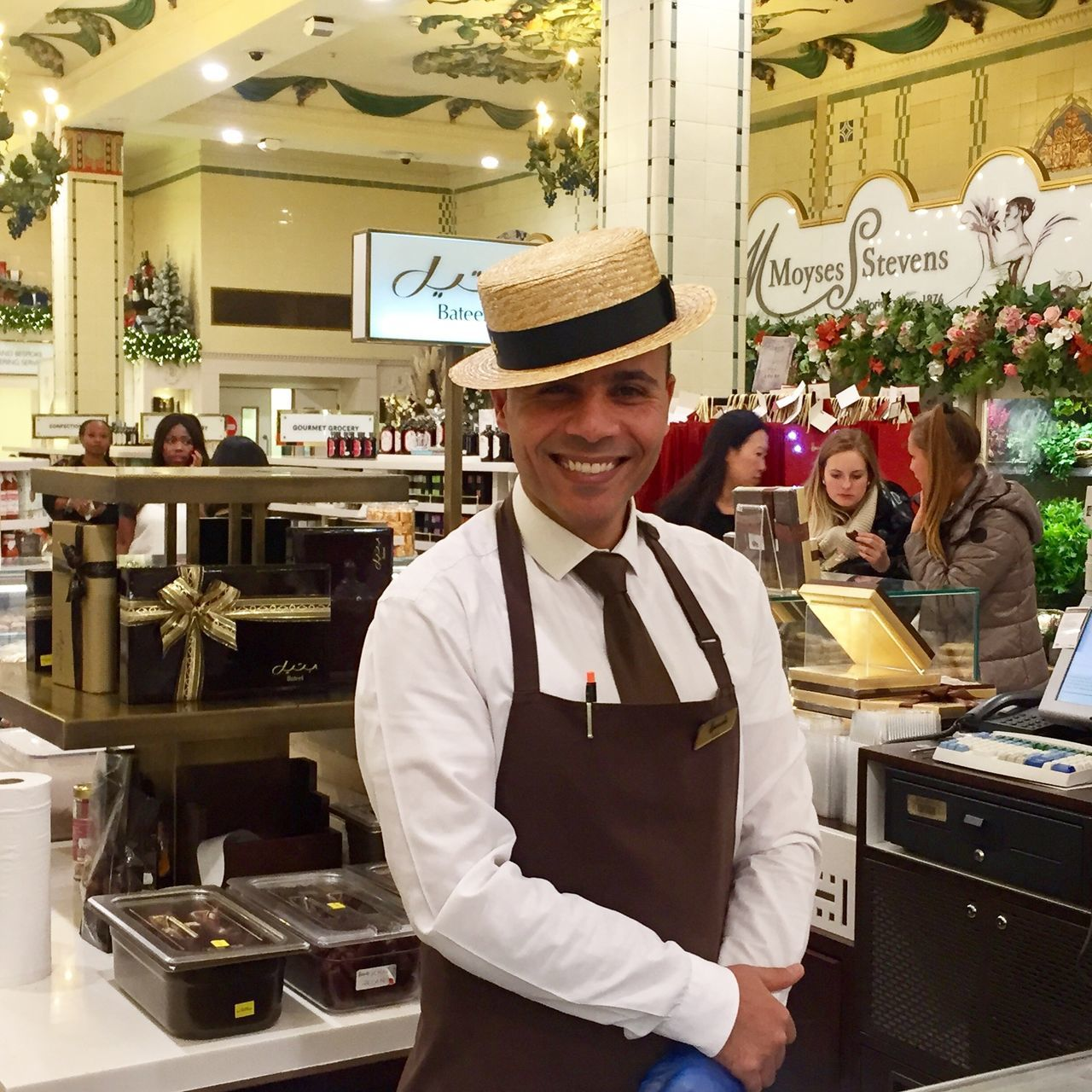 Adult Bar Counter Bartender Business Cheerful Confidence  Entrepreneur Harrods Looking At Camera Men Occupation One Man Only One Person Only Men Owner People Pride Service Occupation Small Business Smiling Standing Store Waist Up Working