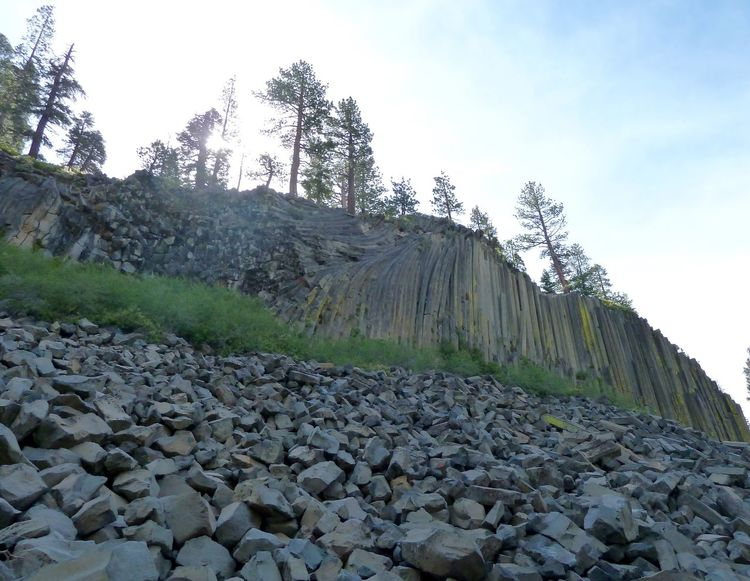 Basalt Columns Basalt Rocks Columnar Basalt Geology Mountain Scenery Photo From Below Looking Up Pine Trees Rocks Devils Postpile National Monument Sierra Nevada Mountains Nature