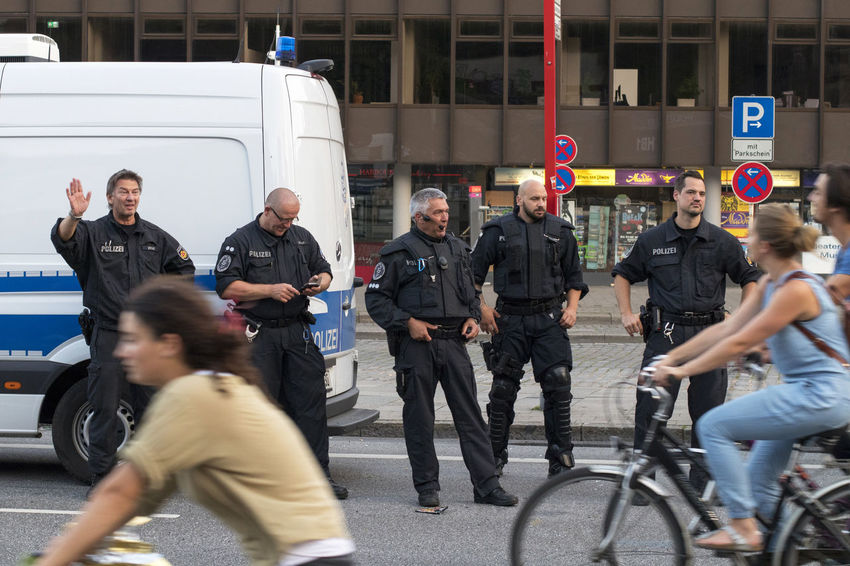 G20 Demonstration 2017 G20 Gipfel G20 Summit NOG20 Polizei Wave Adults Only Axvo Bicycle City Day Demonstration Demonstrations  Hand Law Mode Of Transport Outdoors People Police Police Force Police Uniform Real People Riot Road Standing Women