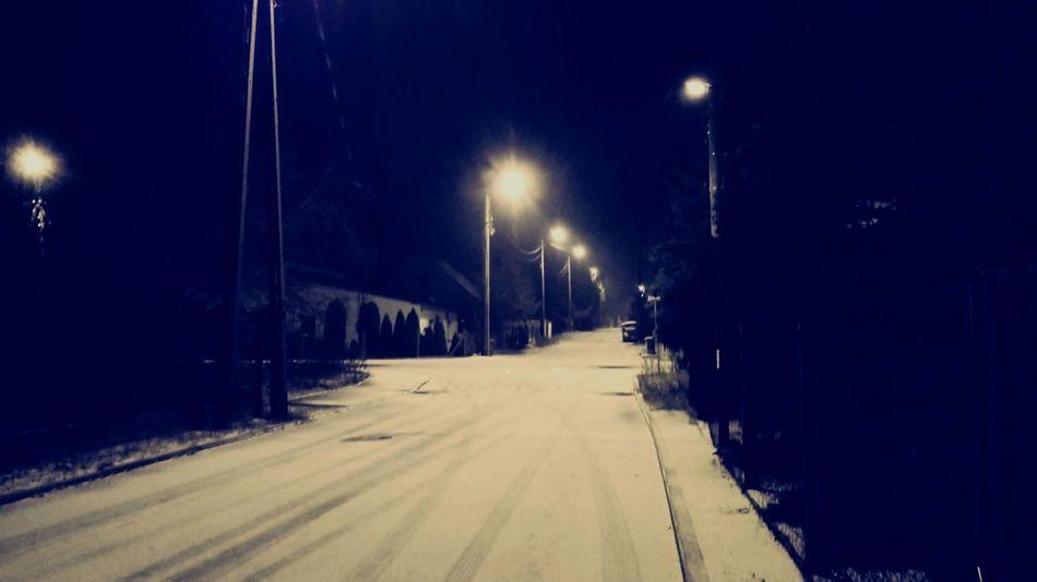 First Snow ♥ Street Light Illuminated