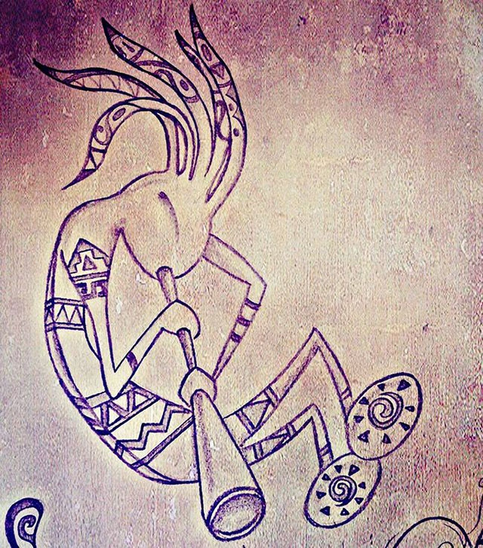 Kokopelli Native Nativeamerican  Flute Fluteplayer Southwestern Navajo Music Spirit Spiritofmusic Tribes Unitedstatesofamerica Hopi Spiritoguida Flauto Trickster Fertility Humpback Humpbacked Draw Drawing Drawingoftheday
