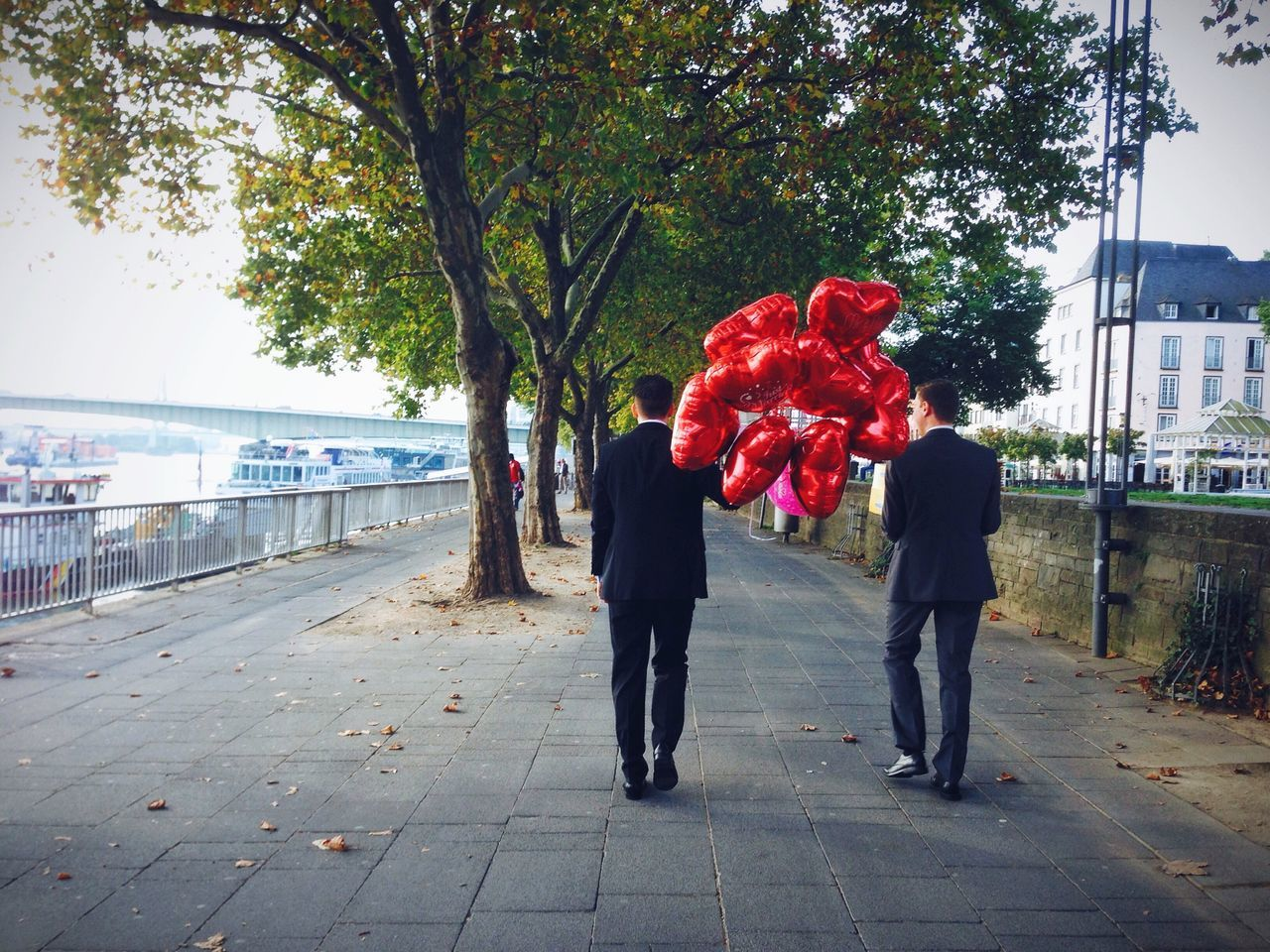 Just Married Red Balloons Love Marriage  Wedding Two Men Walking Tomohitoshi