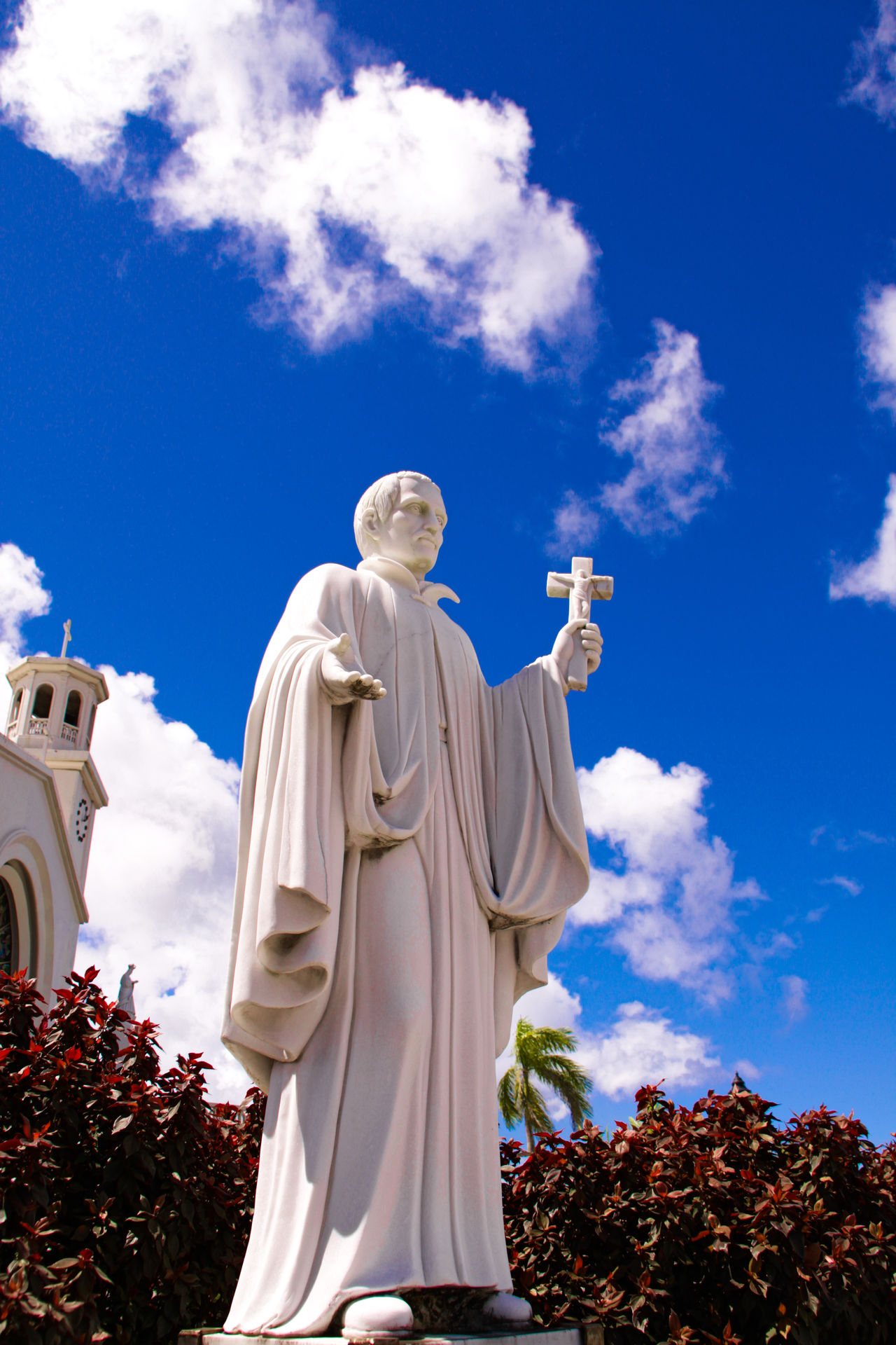 Guam - May 25, 2016: HAGANIA cathedral Father in Guam 43 Golden Moments Blue Sky Cathedrale Eyeem Collection Famous Place Farther Getty Getty Images Guam Hagania Low Angle View Mission Mission District Oceania Outdoors Religion Sky Statue The OO Mission United States USA
