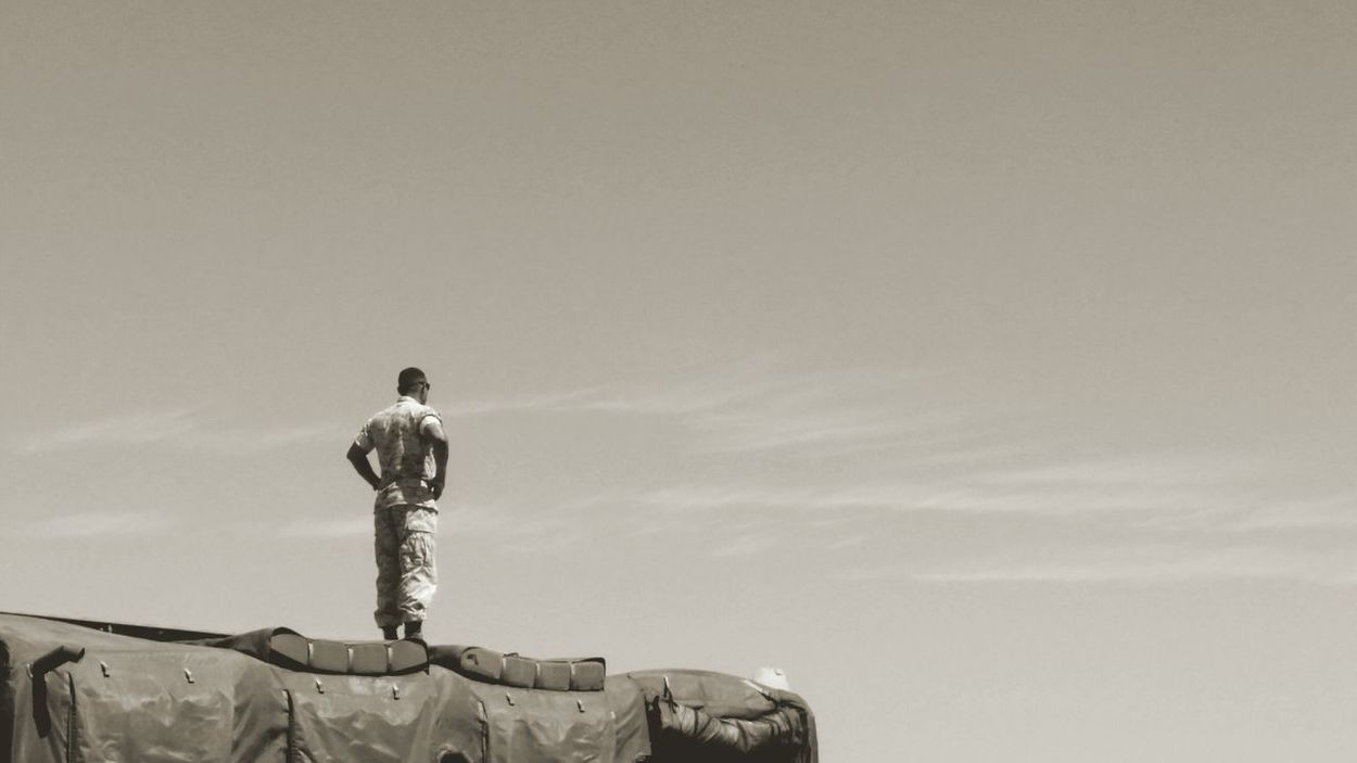 Soldier Marine Sepia Miramar Air Show Monotone Watching Standing Standing Alone