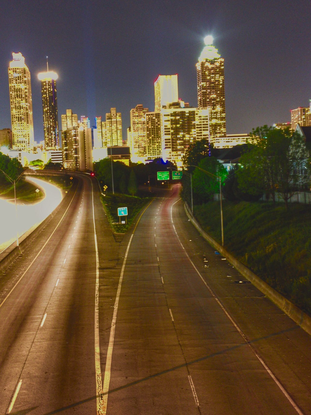 Atlanta Skyline Atlanta Ga Atlanta, GA Light Trails Skyline At Night