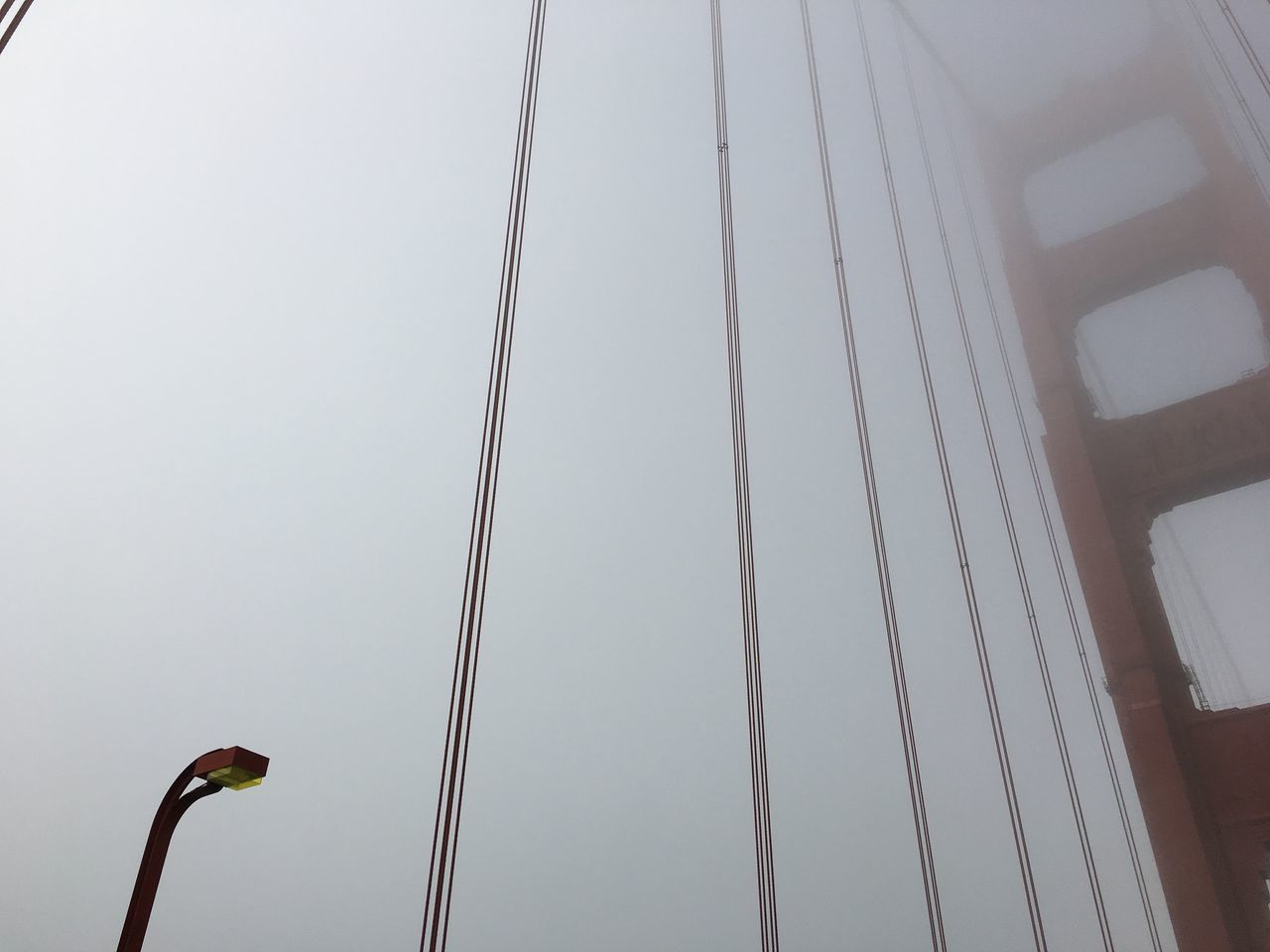 Architecture Day Foggy Golden Gate Bridge Low Angle View Outdoors Sky Technology